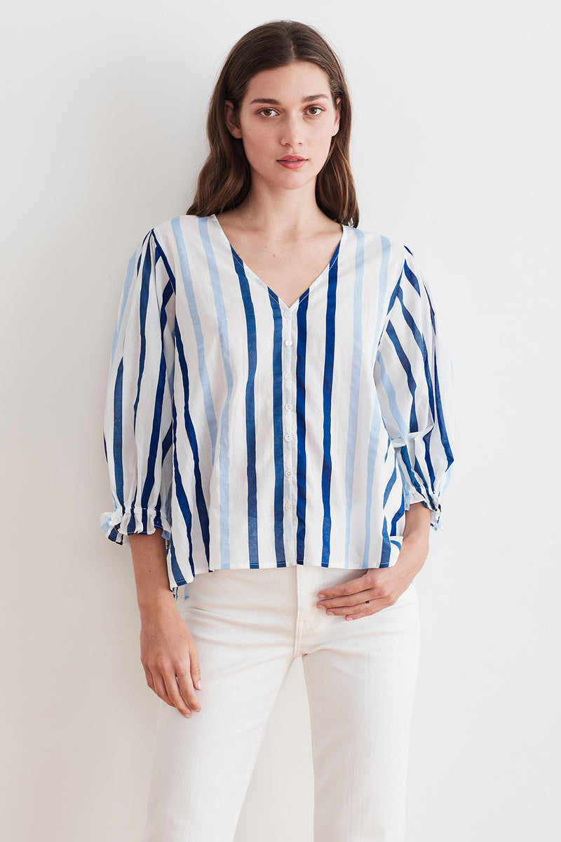WHITLEY OMBRE STRIPE  BUTTON-UP BLOUSE