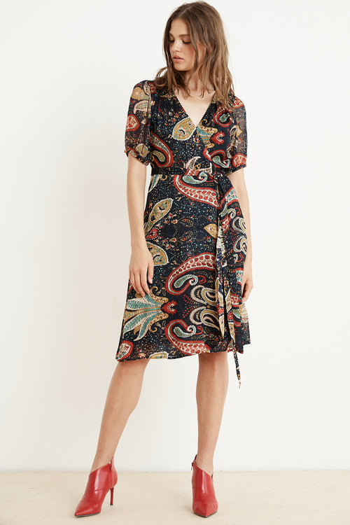 869efc80a6f TAYLOR PAISLEY SHORT SLEEVE WRAP DRESS