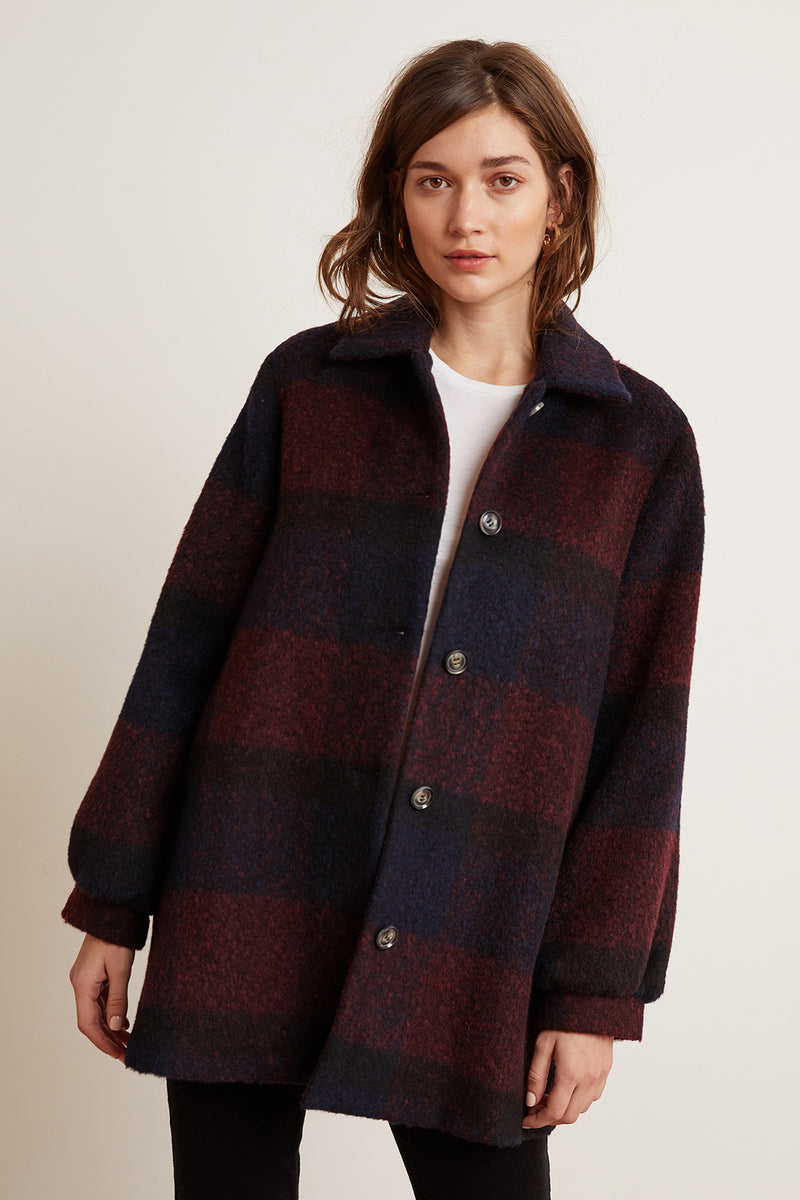 KOURTNEY PLAID SWEATER COAT