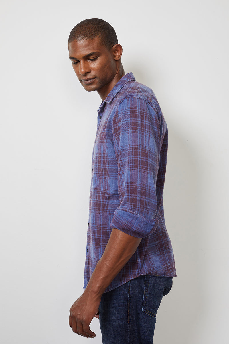 KENNETH PLAID BUTTON-UP SHIRT
