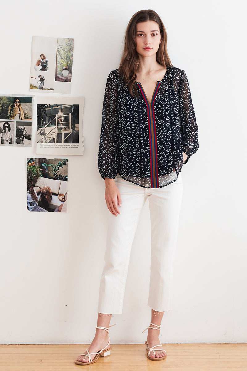 JANET PLAYA PRINT BLOUSE