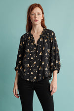 BRIANA FLORAL CHALLIS 3/4 SLEEVE BLOUSE