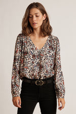 CARLY PRINTED CHALLIS SCOOP NECK BLOUSE