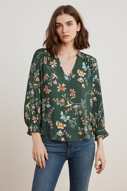 JAZZY FLORAL PRINTED CHALLIS BLOUSE