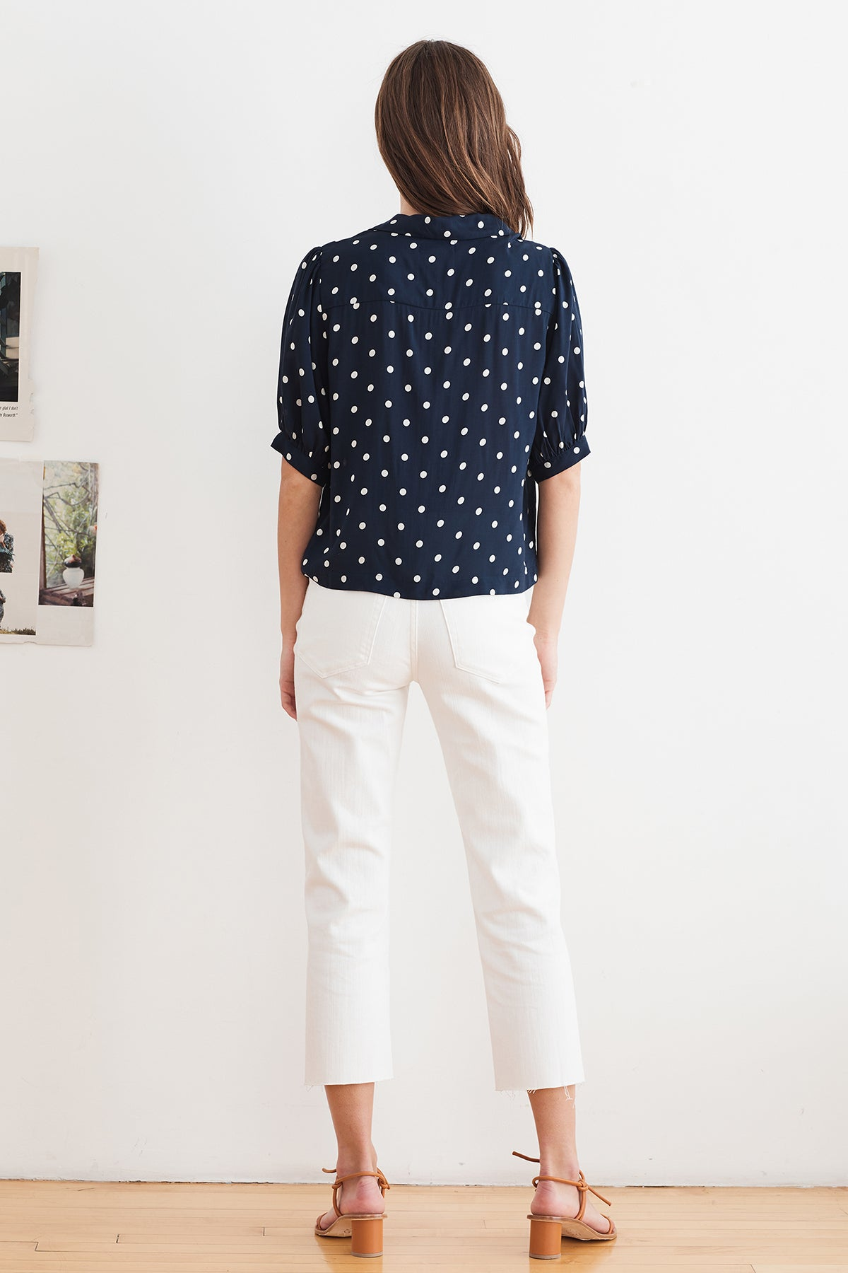 KADEN POLKA DOT BUTTON UP BLOUSE