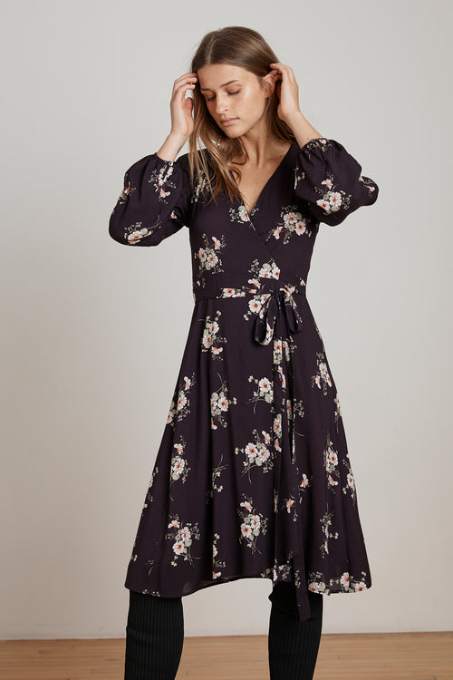 POMONA FLORAL PRINTED CHALLIS WRAP DRESS