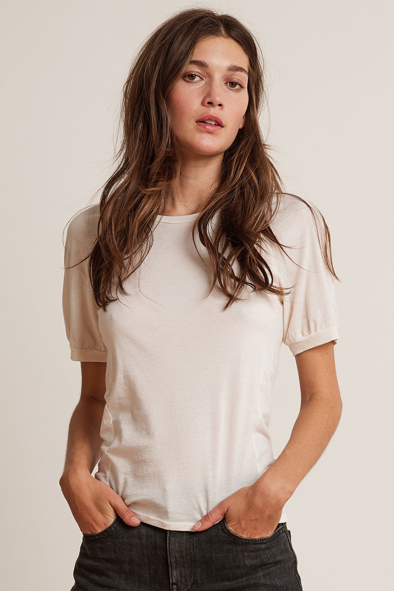 STACY GAUZY WHISPER RAGLAN PUFF SLEEVE TEE