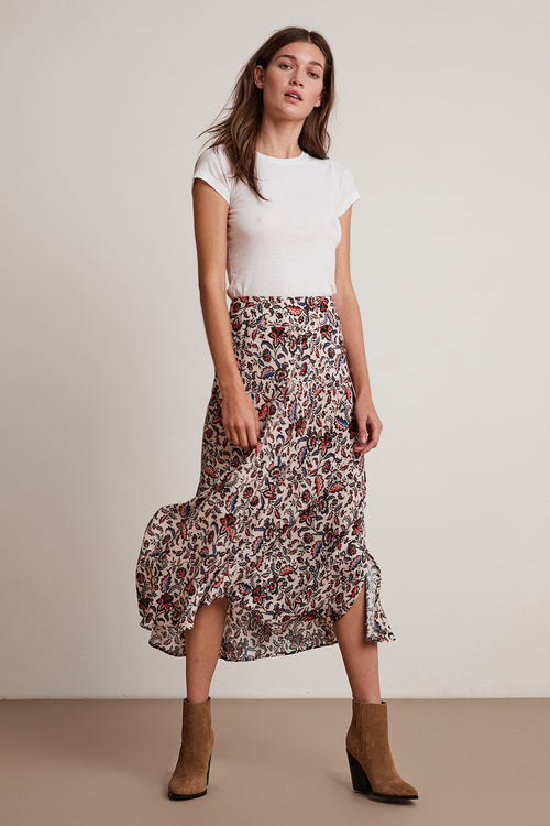 WILLA FLORAL CHALLIS MIDI SKIRT