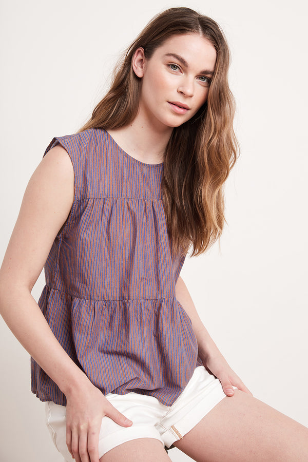 TATUM TIERED STRIPED BLOUSE