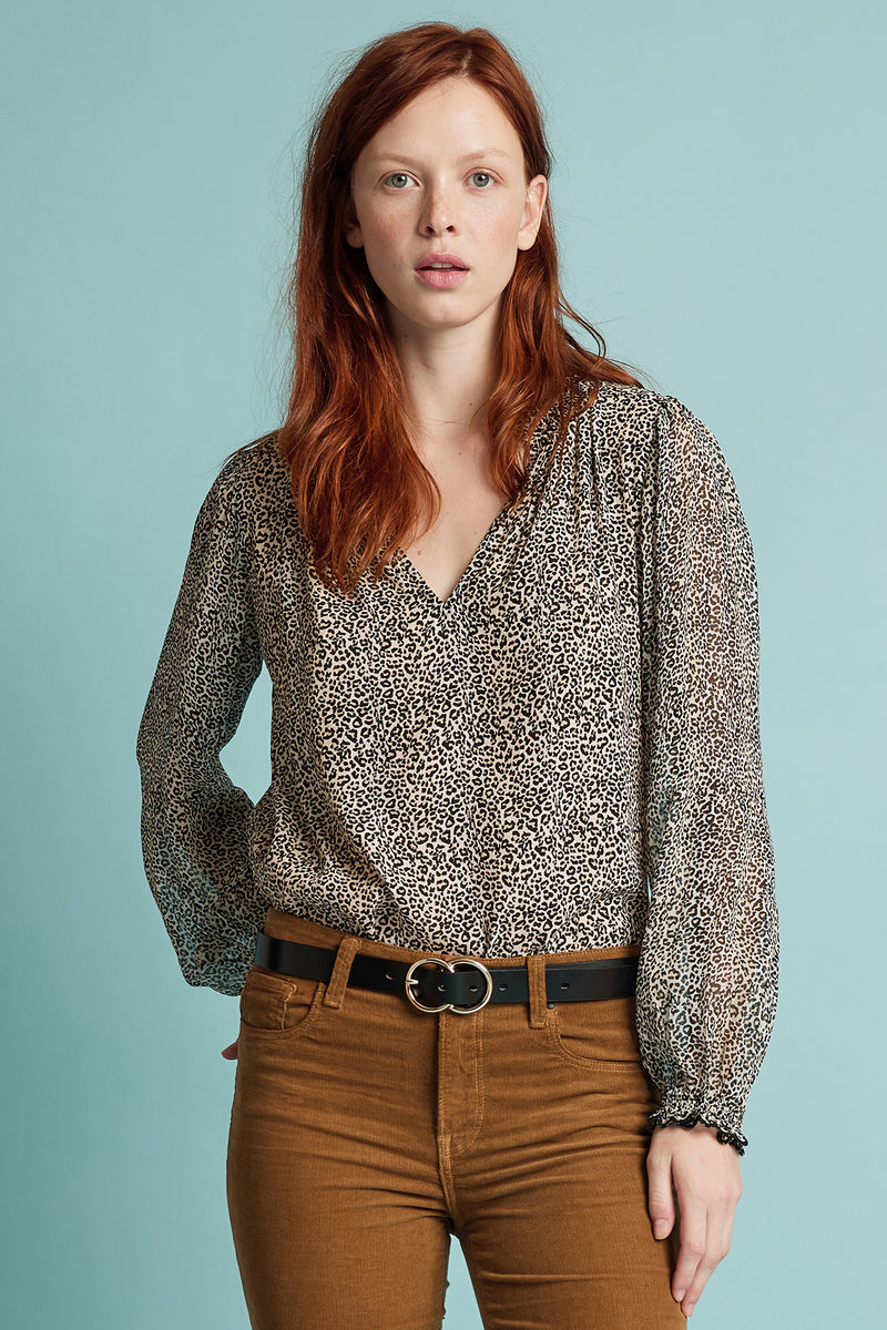 MEL LEOPARD VISCOSE CREPE HALF-PLACKET BLOUSE
