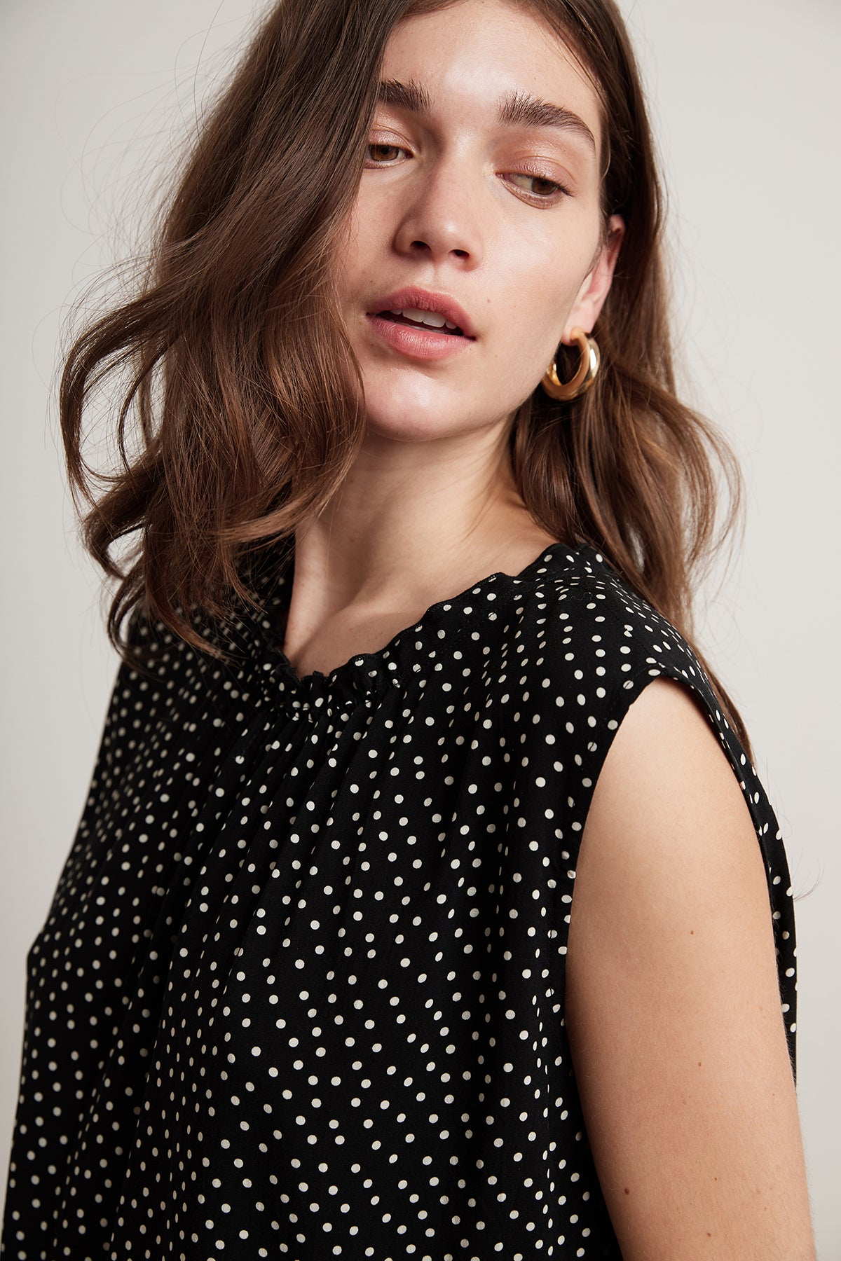 CASEY POLKA DOT CHALLIS SLEEVELESS BLOUSE