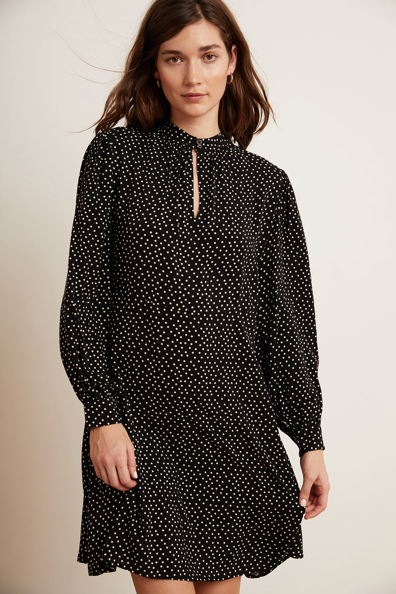 DELORES POLKA DOT LONG SLEEVE DRESS