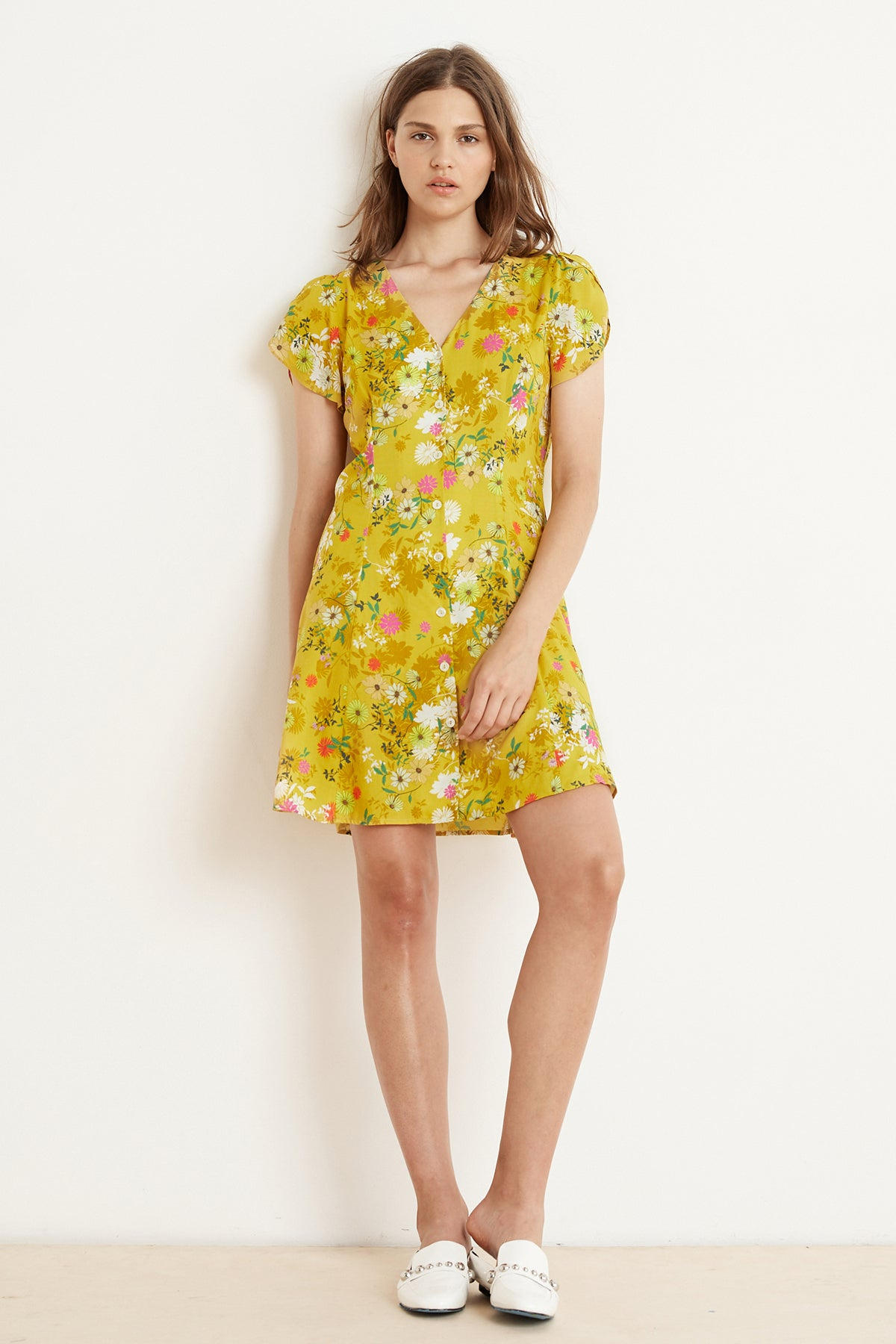 KIRSTAN FLORAL CHALLIS SHORT SLEEVE BUTTON-UP DRESS