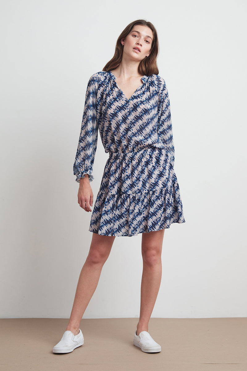 LEAH PRINTED VISCOSE PEASANT DRESS