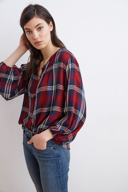 FERN PLAID BUTTON-UP TOP