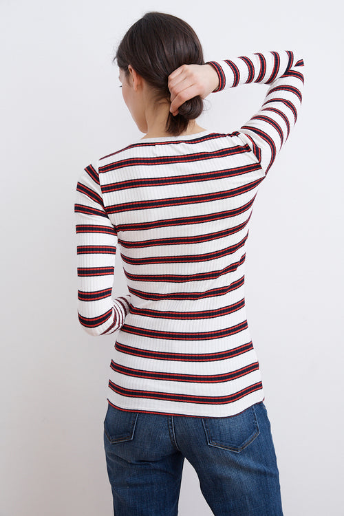 SABEL STRIPE RAYON KNIT HENLEY TOP