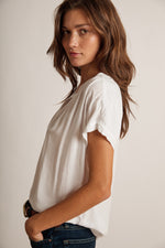 KRISTIN CHALLIS HALF-PLACKET SHORT SLEEVE TOP