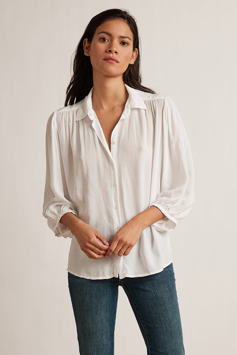 PATRICIA RAYON CHALLIS 3/4 BUTTON UP BLOUSE