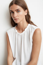 WENNA RAYON CHALLIS SLEEVELESS HIGH NECK BLOUSE
