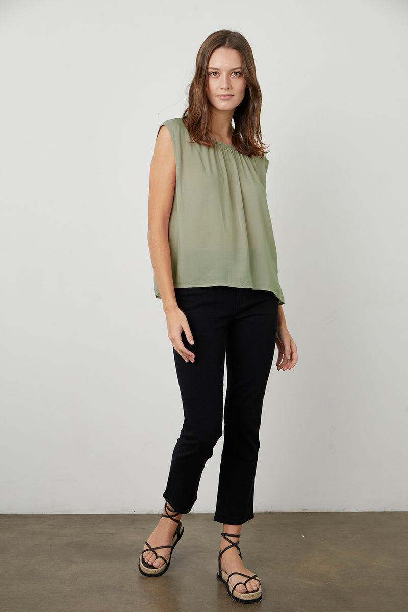 Jade Blouse Branch Kate Denim Onyx Front