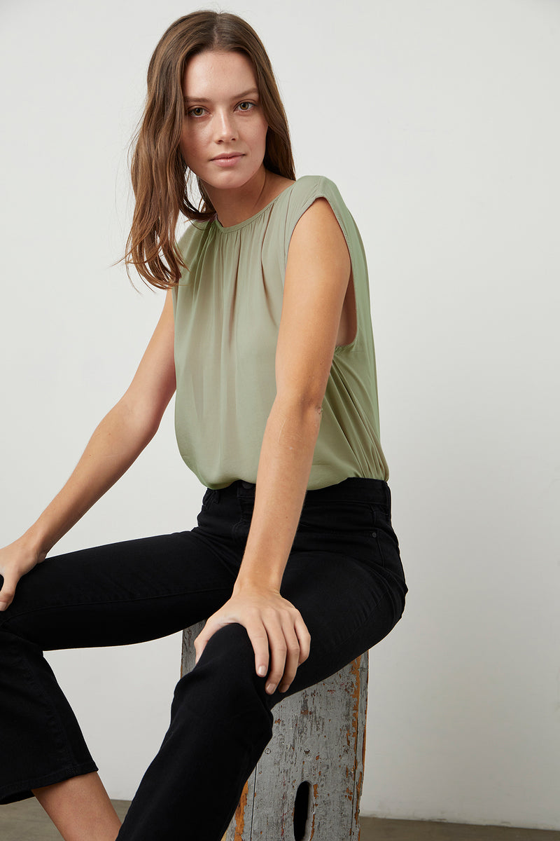 Jade Blouse Branch Kate Denim Onyx Front 2