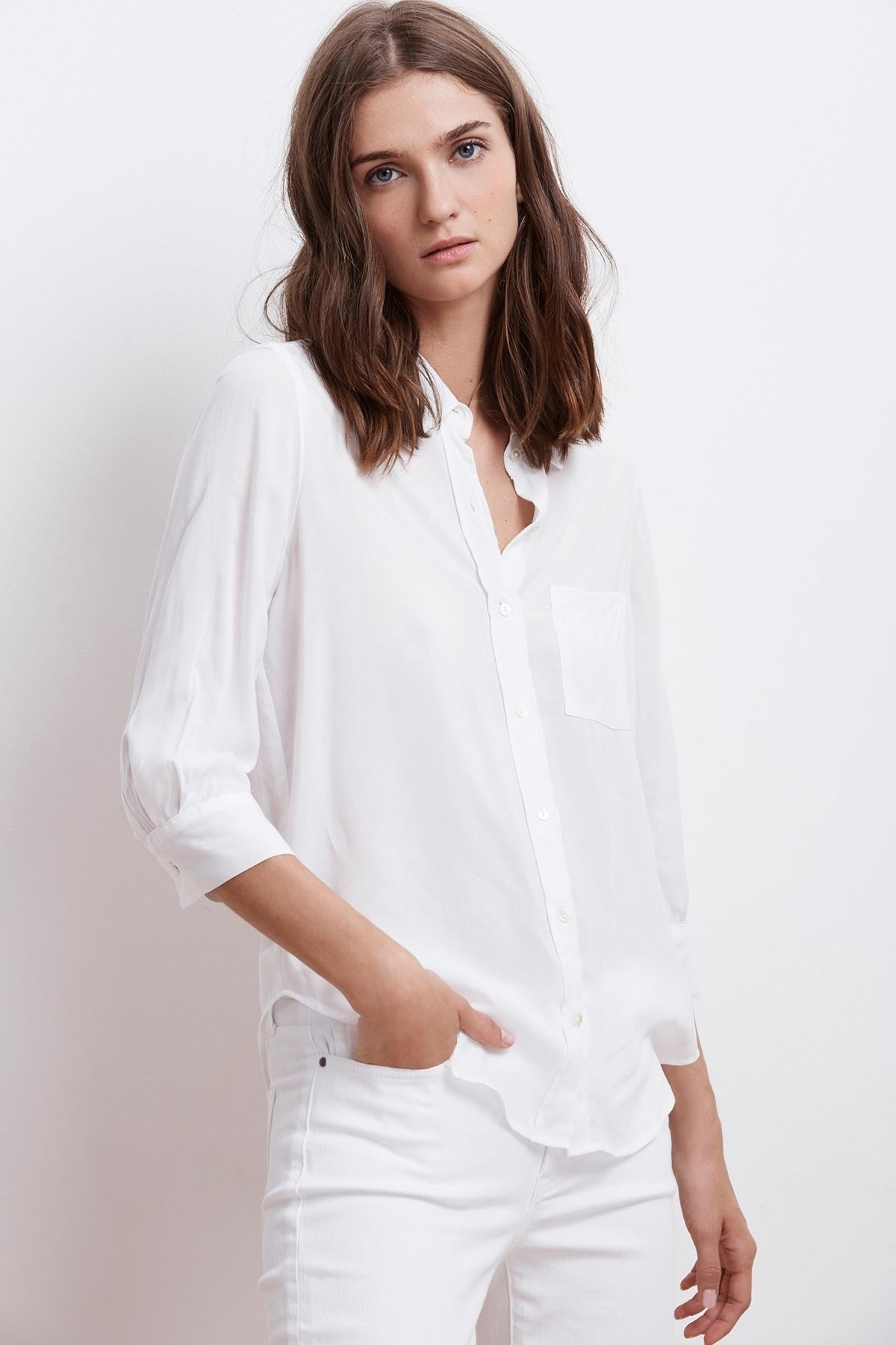 MALINDA CHALLIS 3/4 SLEEVE BUTTON UP TOP