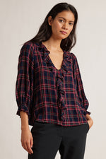 ADDISON PLAID 3/4 SLEEVE RUFFLE TOP
