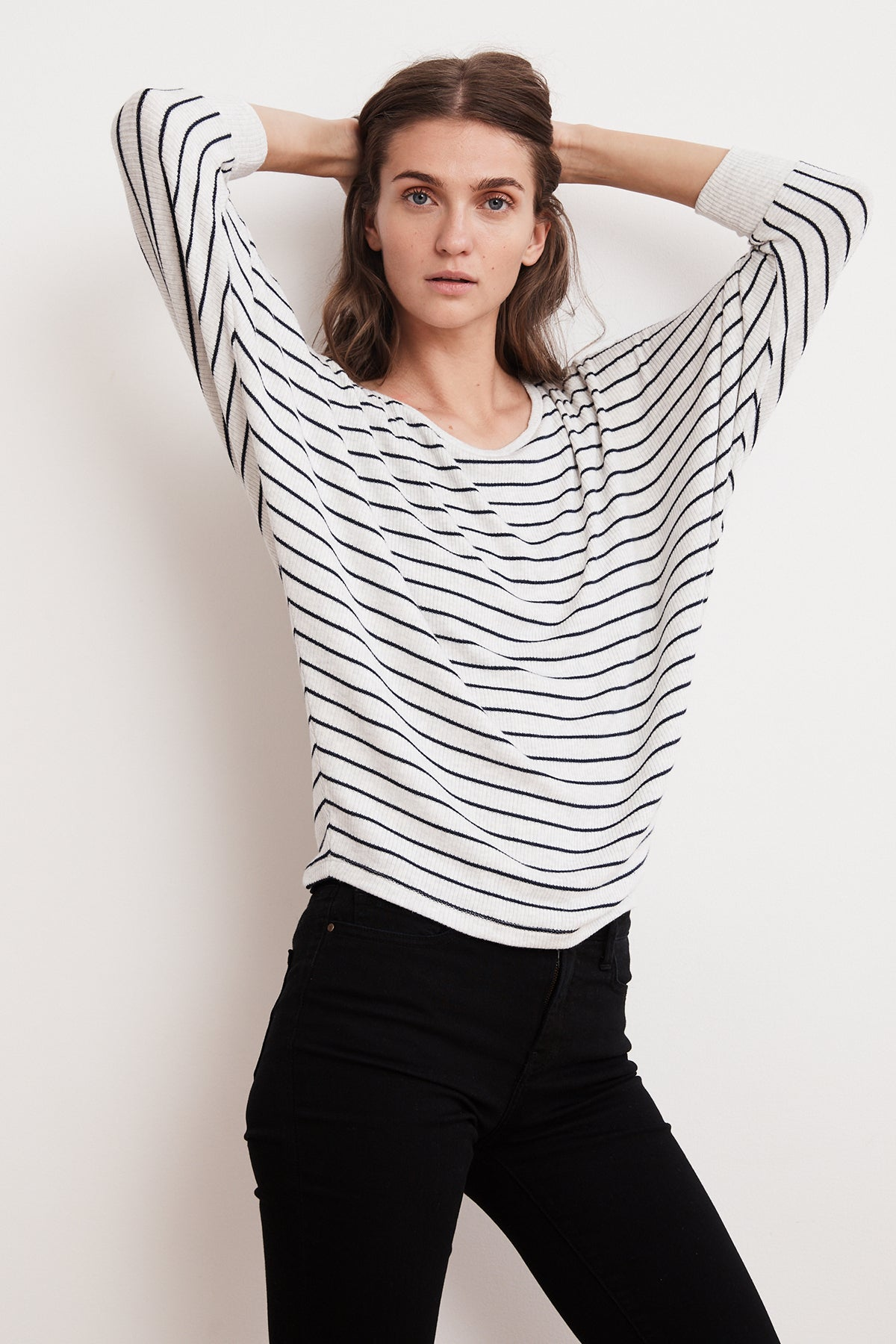 CANDIDA RIBBED STRIPE DOLMAN TOP