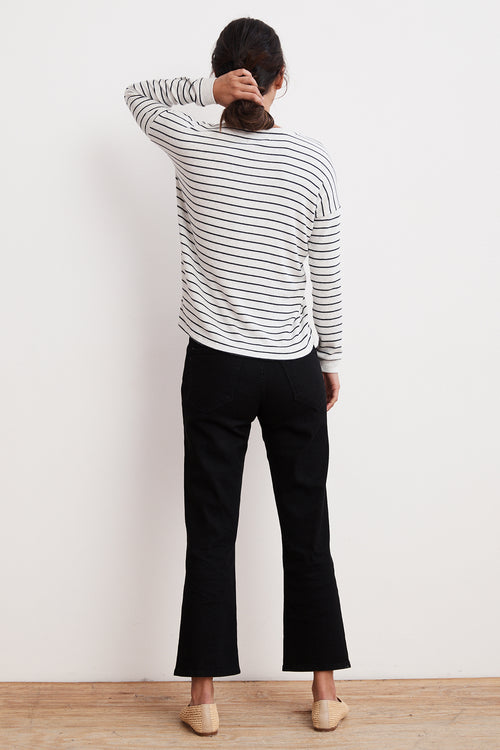 MODESTY RIBBED STRIPE V-NECK TOP