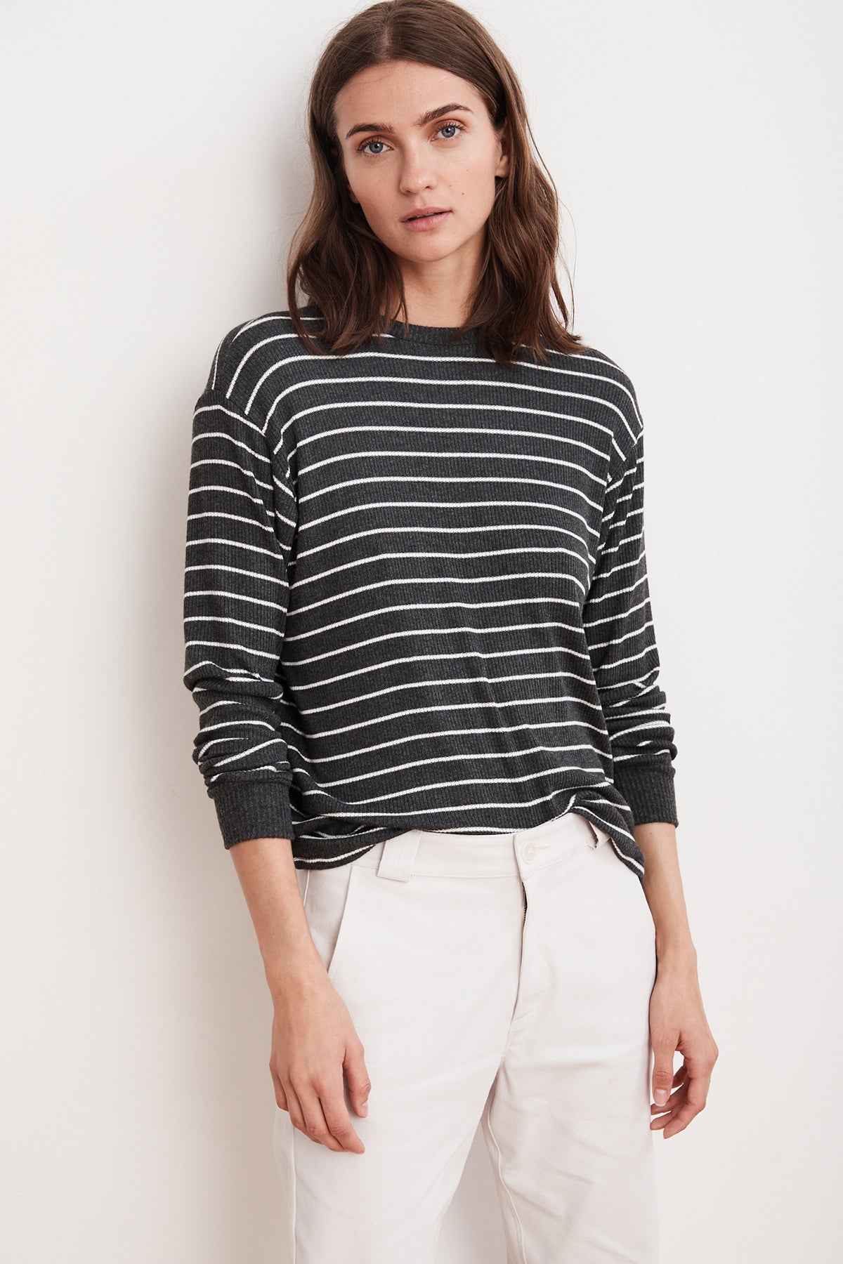 THETA RIBBED STRIPE CREW NECK TOP