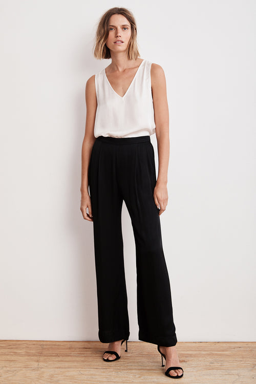LIVI SATIN VISCOSE WIDE LEG PANT