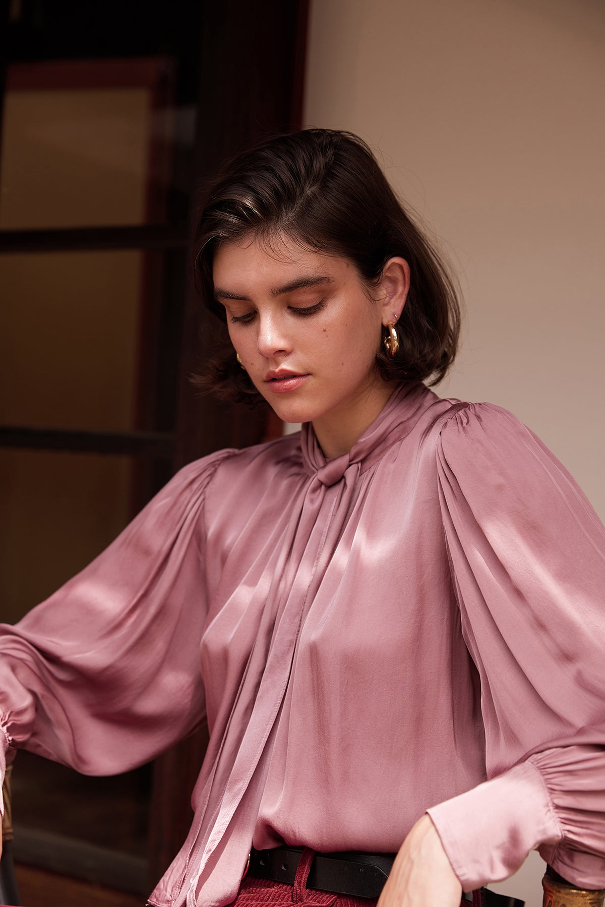 ALANNA SATIN VISCOSE BOW TIE BLOUSE