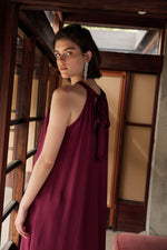 CAMILLA SATIN VISCOSE HALTER DRESS