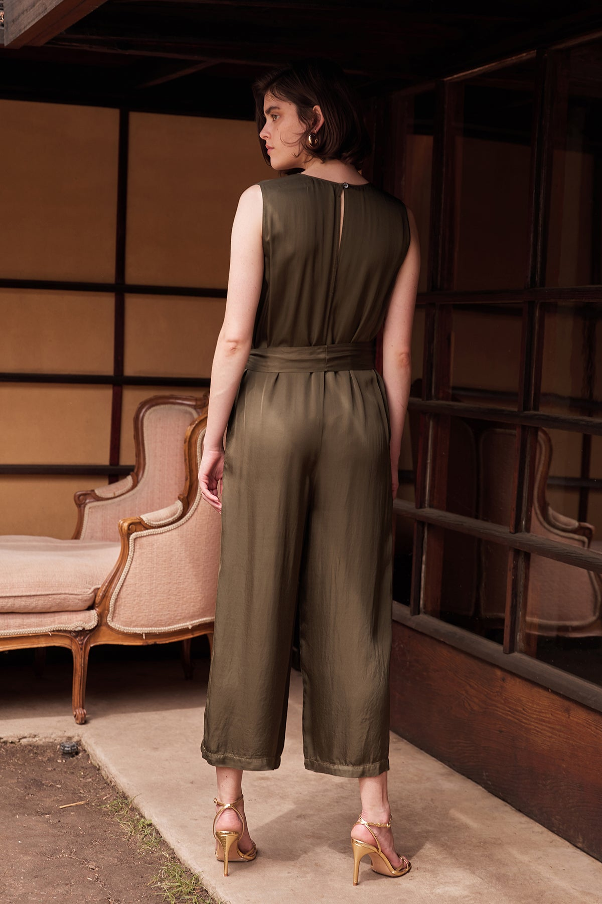 IVY SATIN VISCOSE BELTED SLEEVELESS JUMPSUIT