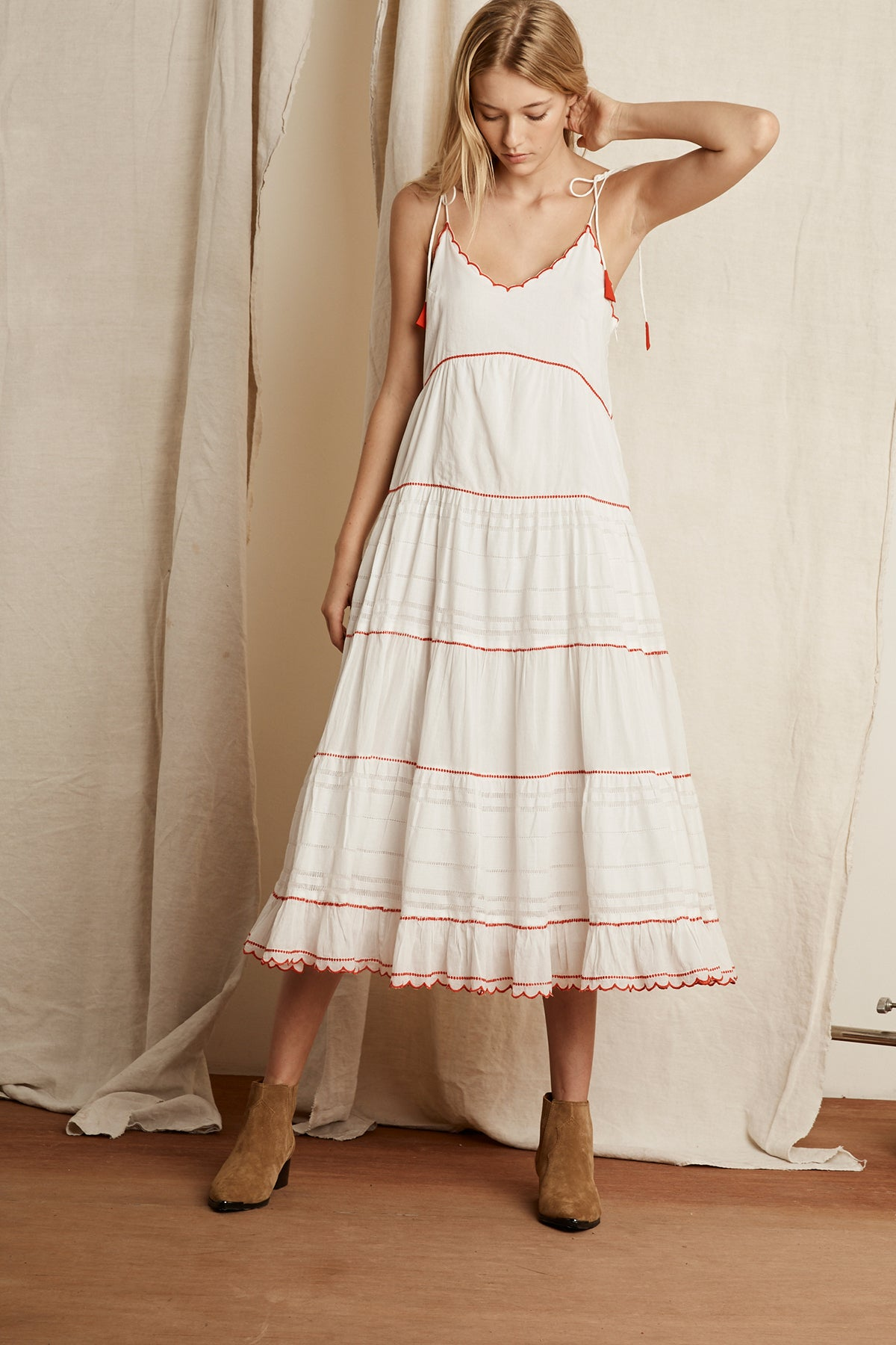 KAELYNN SCALLOP EMBROIDERED COTTON MAXI DRESS