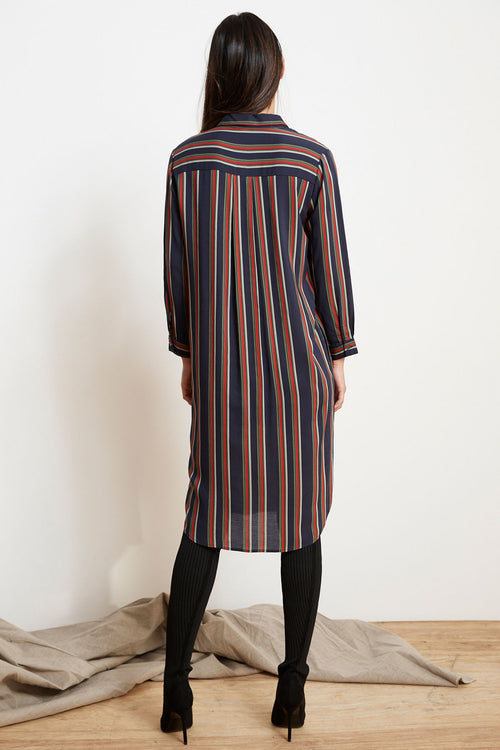 PERO STRIPE CHALLIS BUTTON-UP DRESS