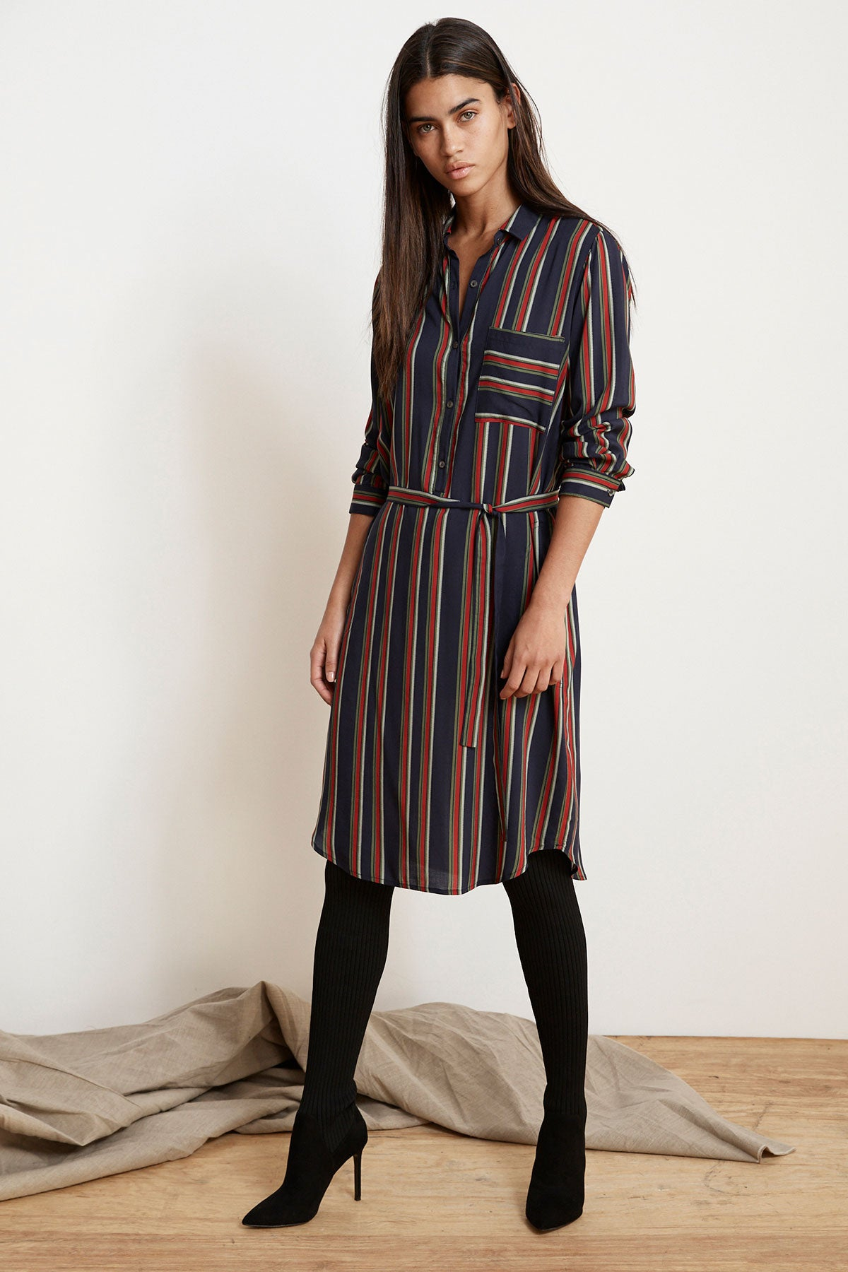 fd0cae7fb3f PERO STRIPE CHALLIS BUTTON-UP DRESS – Velvet by Graham   Spencer