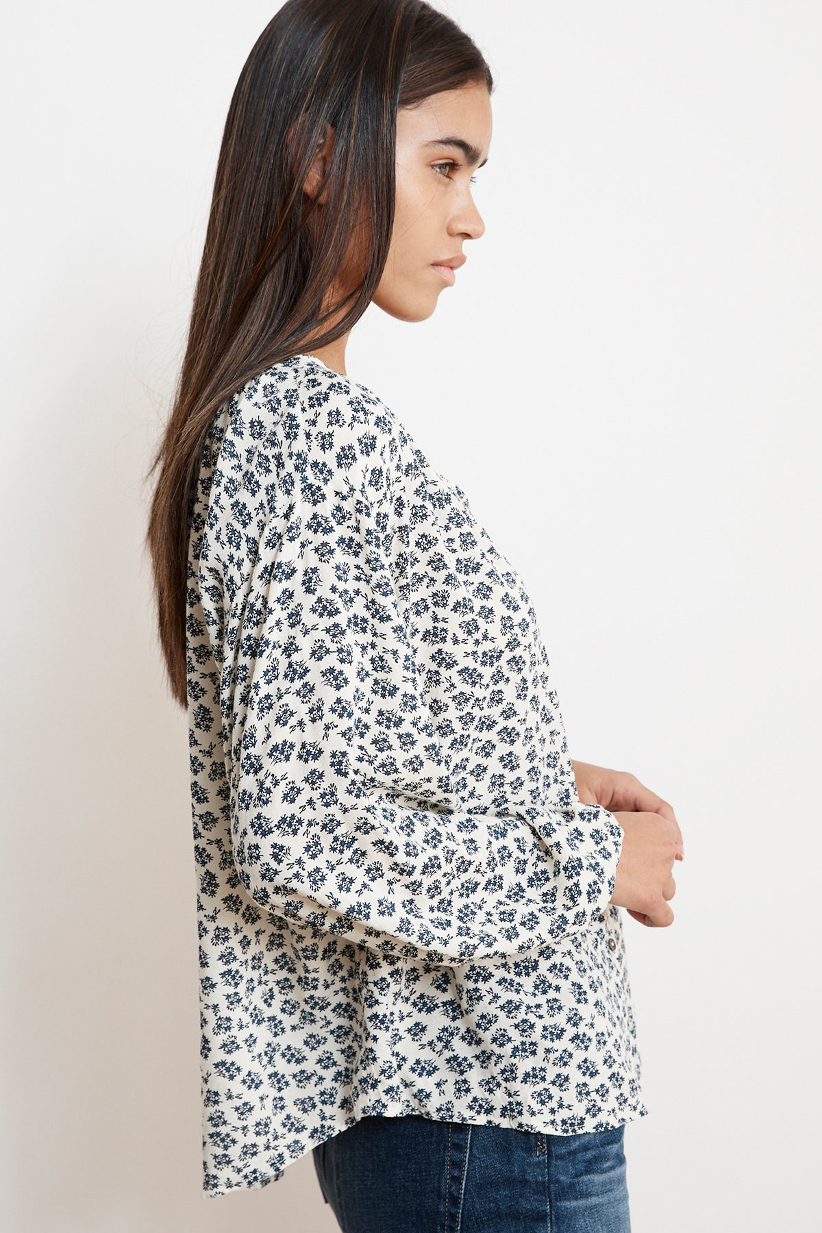 KISSAN SHEER PRINTED GAUZE BUTTON UP BLOUSE