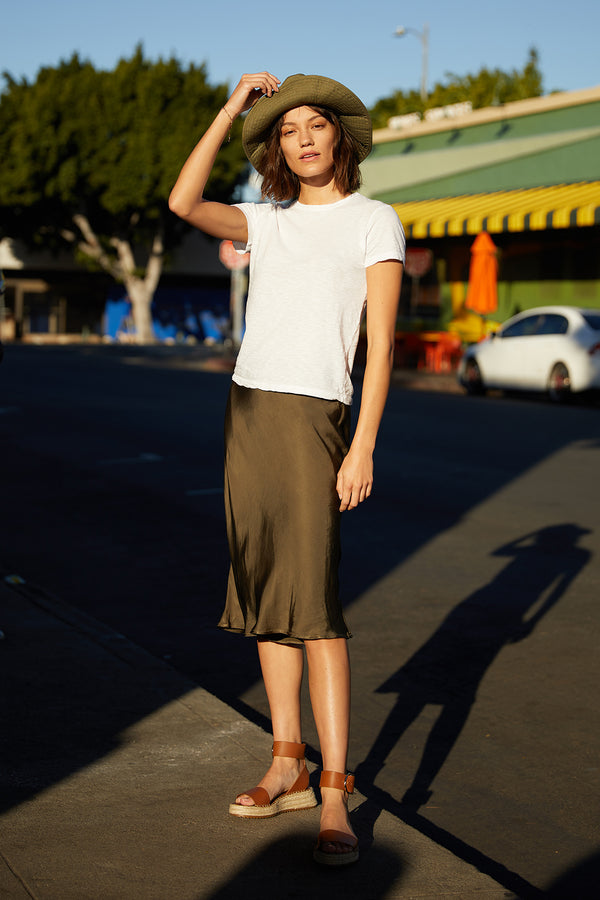 CALISSA SATIN VISCOSE MIDI SKIRT