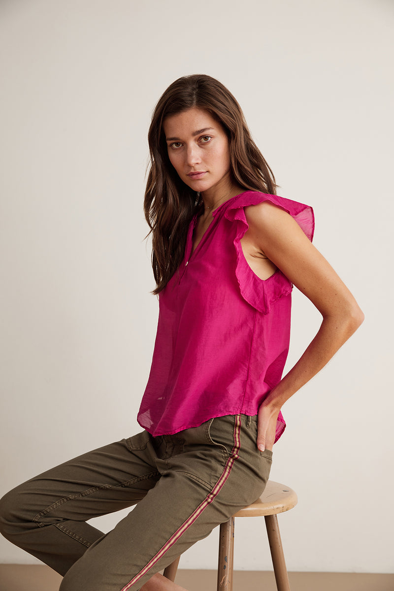JAYNE SILK COTTON VOILE RUFFLE BLOUSE