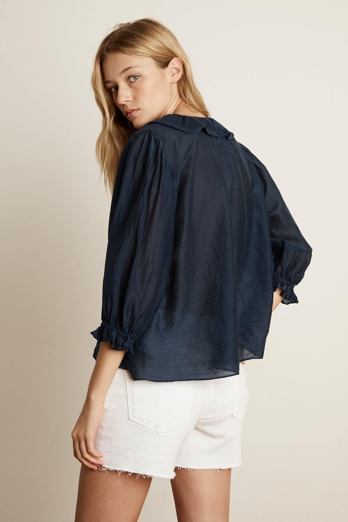 LIANNE SILK COTTON VOILE RUFFLE BLOUSE