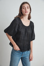 ROSE SCHIFFLI LACE BLOUSE