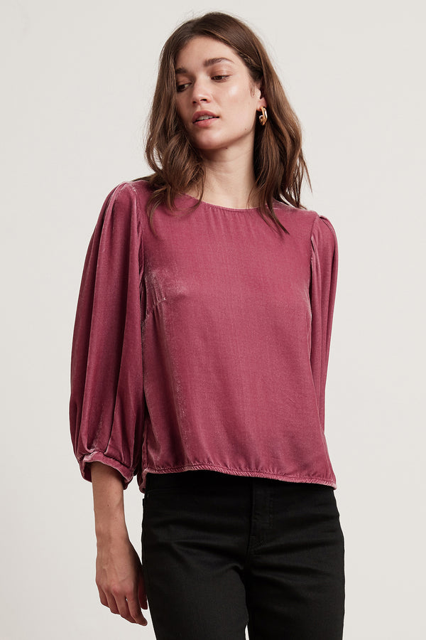 BRENDA SILK VELVET  3/4 PUFF SLEEVE TOP