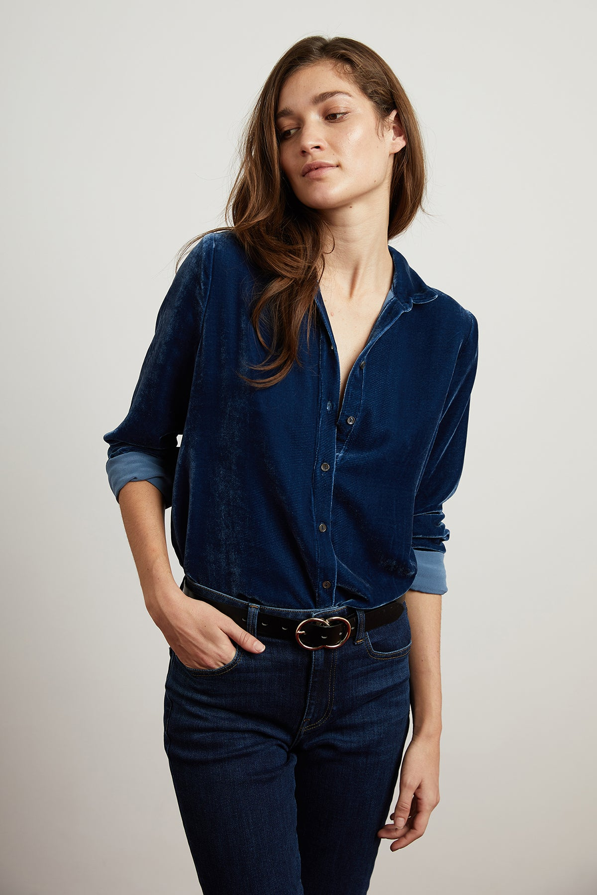 JENSINE VELVET BUTTON UP SHIRT