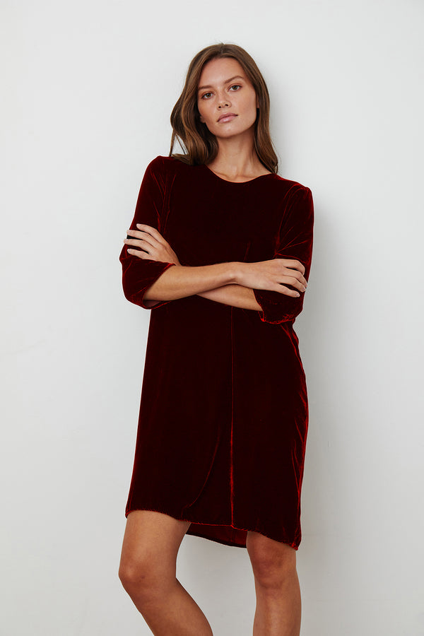 PRUNELLA SILK VELVET DRESS