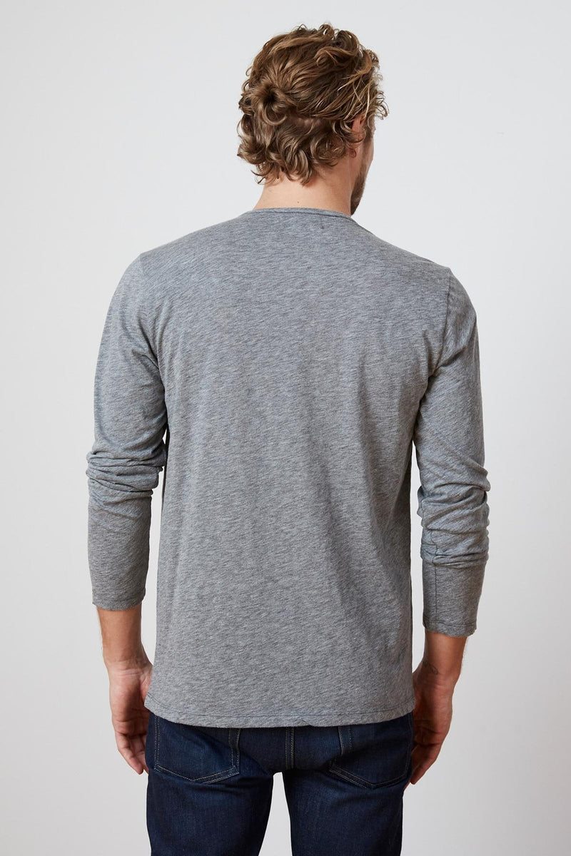 SIMEON CHARCOAL RAW EDGE COTTON SLUB TEE