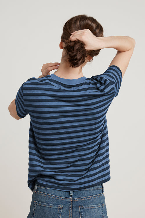 PEACE SLUB KNIT STRIPE TEE