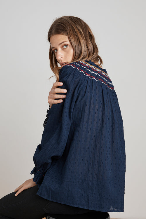 TRUDIE SMOCKED EMBROIDERED PEASANT TOP