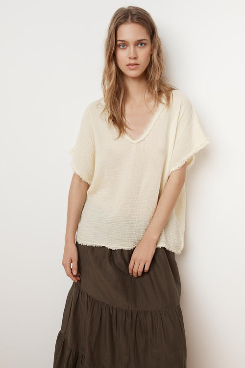 DENISA SOFT COTTON GAUZE V-NECK TOP