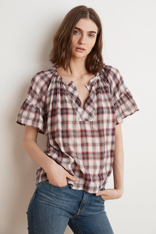 NOMA SOFT PLAID RUFFLE TOP